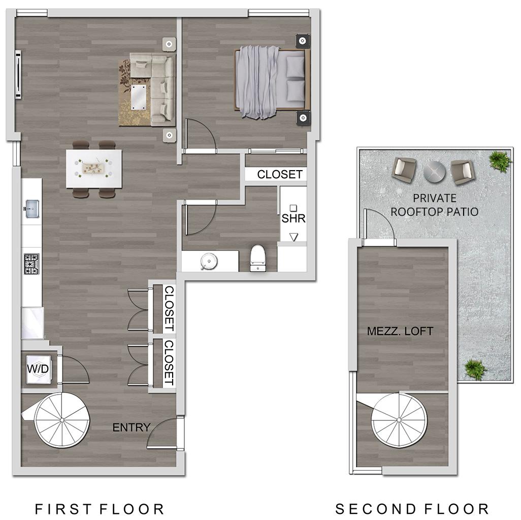 The Lucky Apartments In Culver City 1 Bedroom Loft Floor Plan