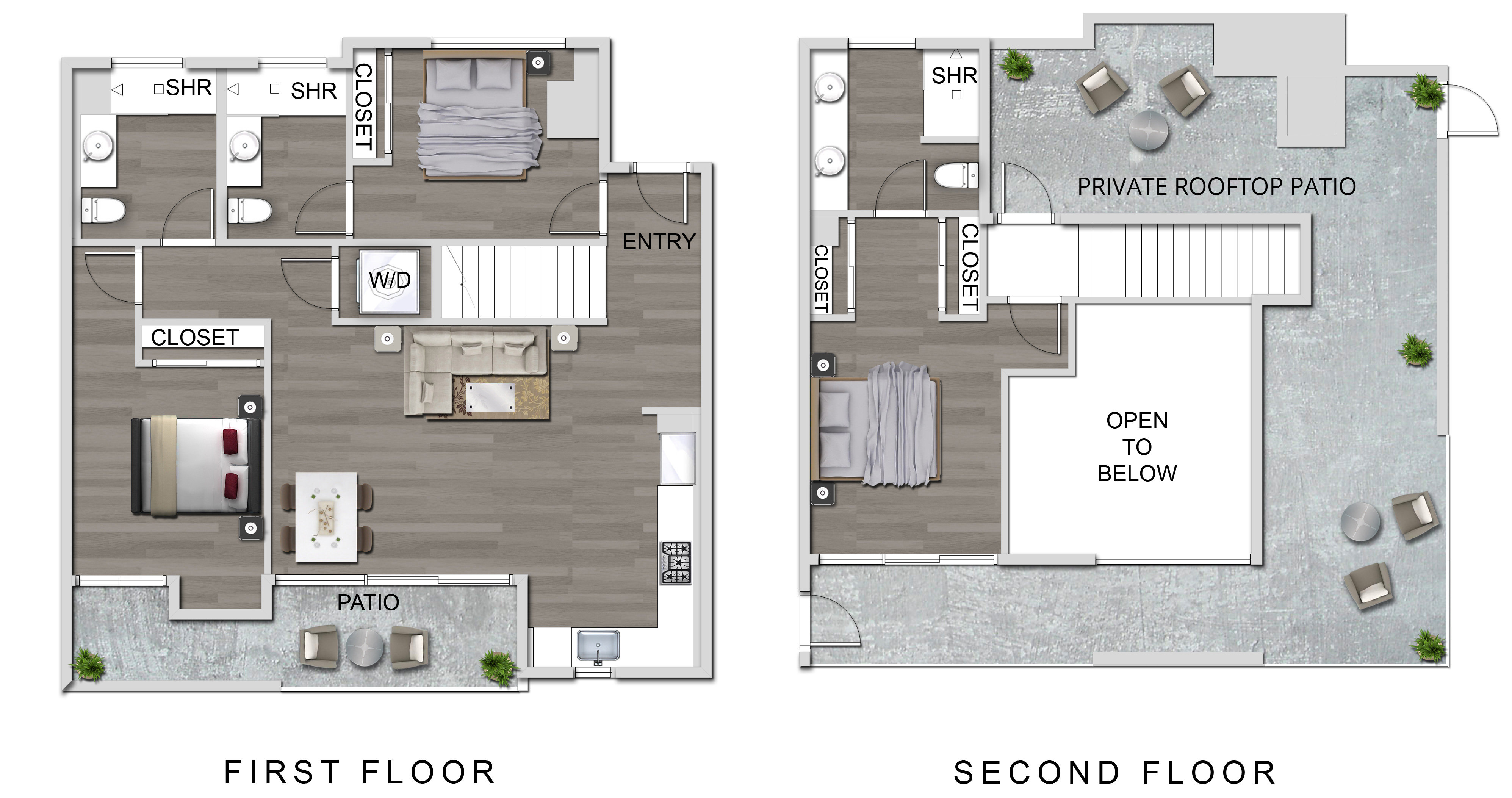 The Lucky Apartments In Culver City 3 Bedroom Loft Floor Plan